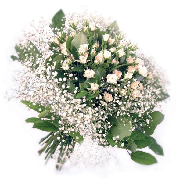 Μπουκέτο με μίνι λευκά τριαντάφυλλα