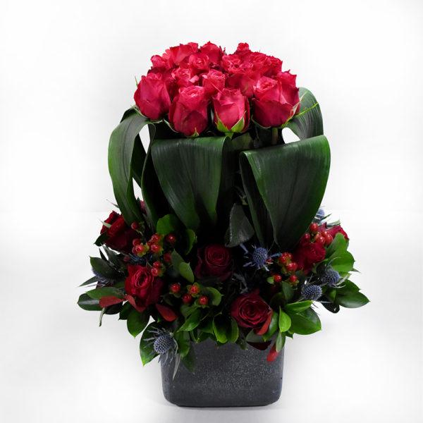 Σύνθεση με φούξια τριαντάφυλλα