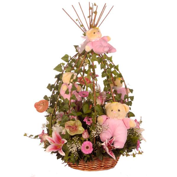 Καλάθι σε ροζ αποχρώσεις
