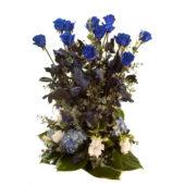 Σύνθεση με μπλε τριαντάφυλλα