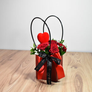 Black bag with red roses