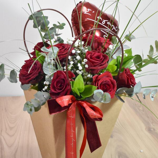 Τσάντα με τριαντάφυλλα