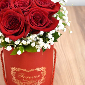 Red boxes with roses